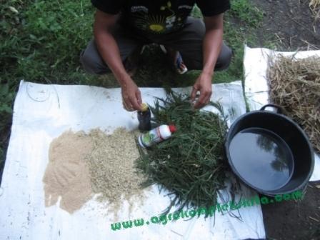Alternatif bahan - dengan rumput atau sisa panenan padi, gabah, tetes tebu, vittoterna dan bekatul