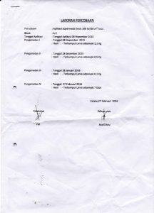 Laporan percobaan supermeta pada sawit Kalbar A2